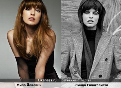 Мила Йовович похожа на Линду Евангелисту