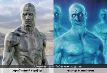 Серебряный серфер из Фантастической четверки похож на мистера Манхеттена из Хранителей