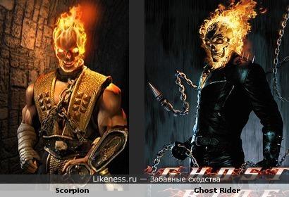 Scorpion из Mortal Kombat и Ghost Rider похожи