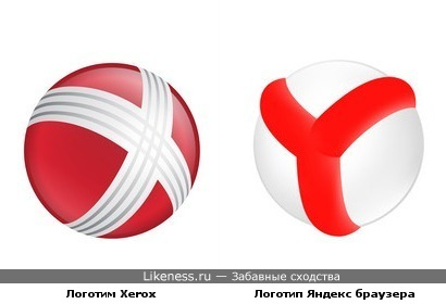 Логотип Яндекс-браузера похож на логотип Xerox