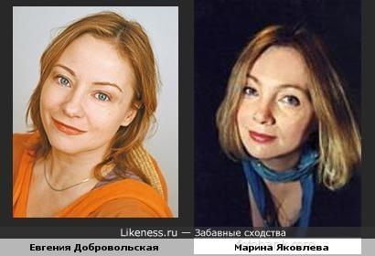 Евгения Добровольская похожа на Марину Яковлеву