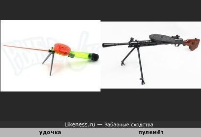 Удочка для зимней рыбалки напоминает ручной пулемёт Дегтярева