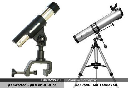 Держатель для спининга напоминает зеркальный телескоп