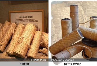 Японские деревянные пушки напоминают когтеточки для кошек