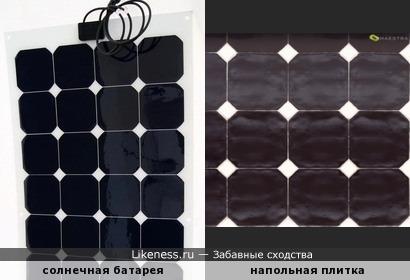 Солнечная батарея и напольная плитка имеют одинаковую текстуру