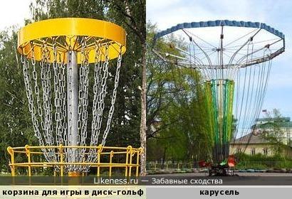 Корзина для игры в диск-гольф напоминает цепочную карусель