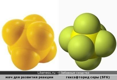 Мяч для развития реакции футбольных вратарей напоминает масштабную полусферическую модель молекулы