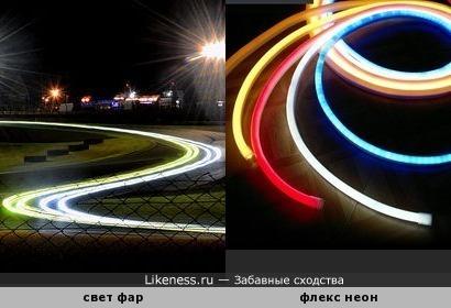 Свет фар на фото с длинной выдержкой напоминает неоновые трубки