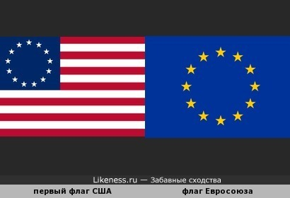 Деталь первого флага США и флаг Европейского Союза