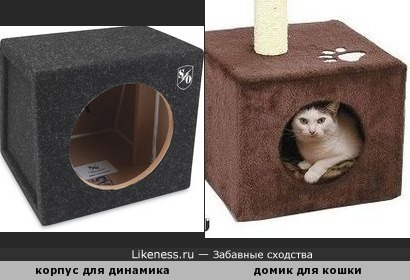 Корпус для динамика напоминает домик для кошки