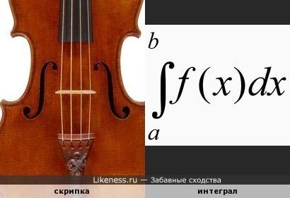 Эфы скрипки (резонаторные отверстия в корпусе скрипки) напоминают знак интеграла