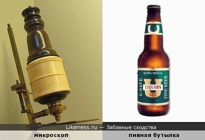 Микроскоп XVII в. напоминает бутылку