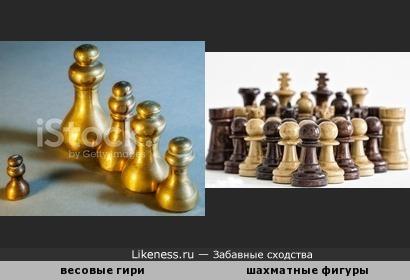 Весовые гири напоминают шахматные фигуры