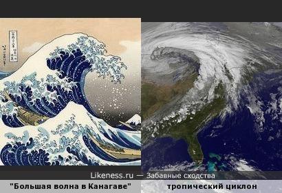 Тропический циклон напоминает волну