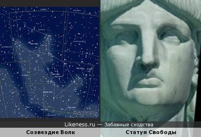 Фрагмент карты звёздного неба напомнил лицо