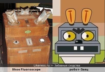 """Флюороскоп для примерки обуви 1938 г. напоминает робота-Зайца из """"Ну, погоди!"""""""