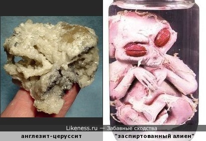 Минерал англезит-церуссит напоминает череп пришельца