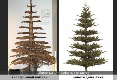 Телефонный кабель повивной скрутки (экспонат музея Fernmeldemuseum) напоминает искусственную новогоднюю ёлку