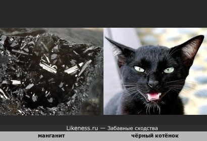 Минерал манганит напоминает чёрную кошку