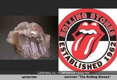 "Минерал целестин напоминает логотип британской рок-группы ""The Rolling Stones"""