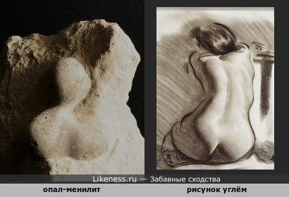 Минерал опал-менилит напоминает девушку со спины