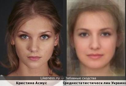 Среднестатистическ лик Украинки похож на Кристину Асмус