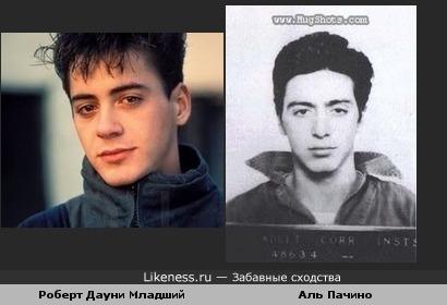 Молодые Роберт Дауни Младший и Аль Пачино