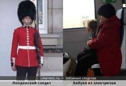 Лондонский солдат в Московской электричке.
