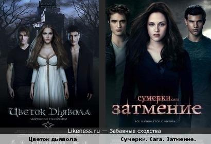 """Постеры фильмов """"Сумерки. Сага. Затмение"""" и """"Цветок дьявола"""" похожи"""