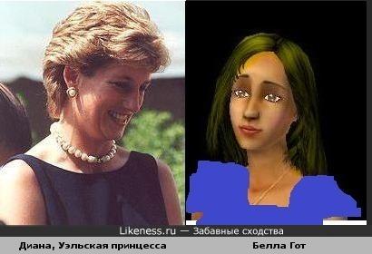 Диана Спенсер и Белла Гот похожи