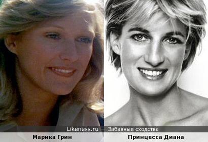 Актриса Марика Грин и Диана, принцесса Уэльская