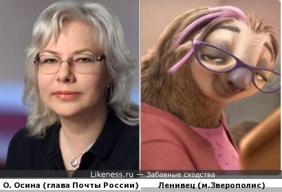 Ольга Осина - новая глава Почты России и девушка-ленивец из Зверополиса (очень символично)