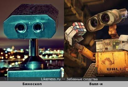 Бинокль для смотровых площадок и робот Валл-и
