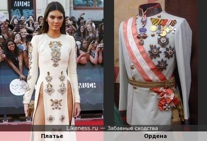 Платье Кендалл Дженнер напомнило мундир в орденах