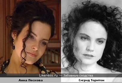 Анна Пескова похожа на Сигрид Торнтон