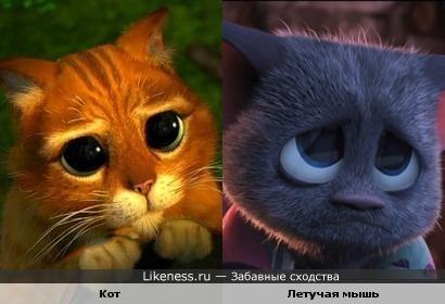 Кот в сапогах и летучая мышь из мультфильма Монстры на каникулах