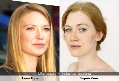 Анна Торв похожа на Мирей Инос