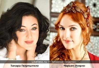 Тамара Гвертцители и Мерьем Узерли в роли Хюррем Султан похожи
