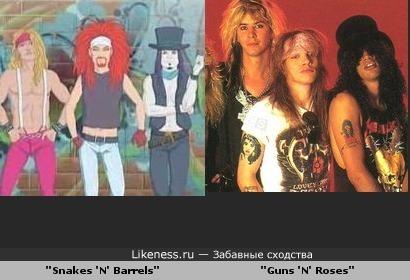 "Группа ""Snakes'n'Barrels"" из мультфильма ""Металапокалипсис"" похожа на группу ""Guns'n'Roses"""