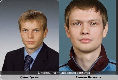 Футболист О.Гусев и актер С.Рожнов