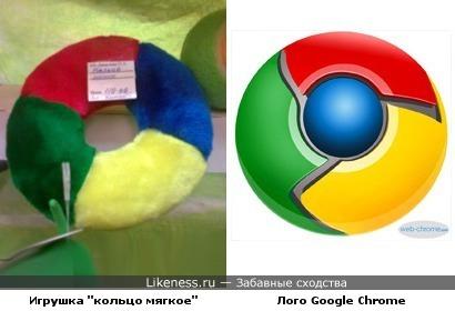 """Игрушка для животных """"кольцо мягкое"""" напомнила лого Google Chrome"""