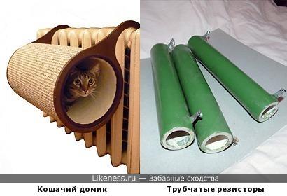 Кошачий домик на батарею напоминает трубчатый резистор