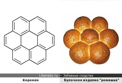 Структурная формула коронена похожа на классическую булку-ромашку