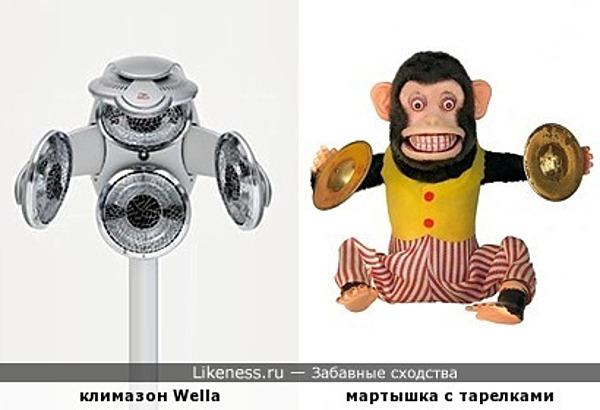 Парикмахерский прибор похож на обезьянку с тарелками