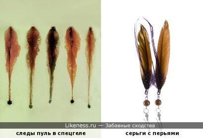 Следы пуль в баллистическом геле напоминают перья