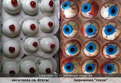 Традиционное катанское пирожное в виде женской груди и пироженки в виде глаз...