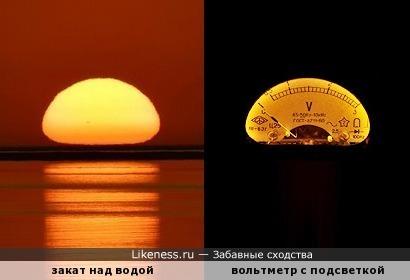 Тёплые ломтики жёлтого цвета - Солнца закат и с подсветкой вольтметр!.