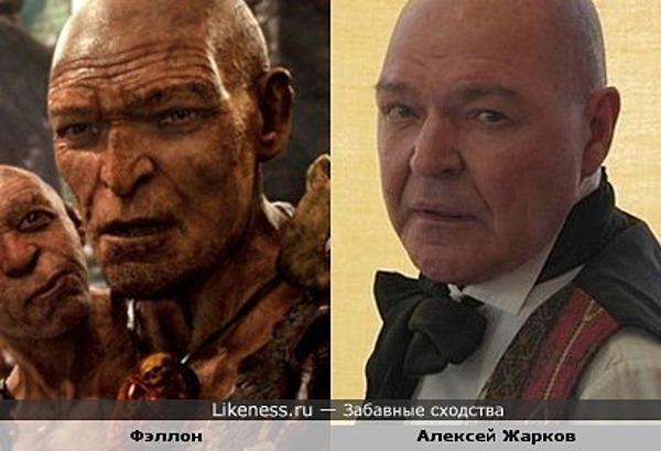 """Фэллон (""""Джек-покоритель великанов"""") и актёр Алексей Жарков."""