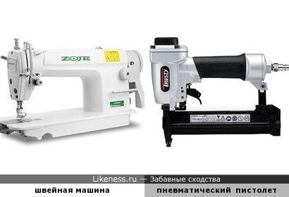 швейная машина - пневматический гвоздезабивной пистолет