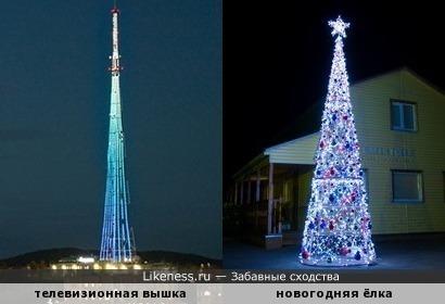 телевизионная вышка ( г. Мурманск ) - новогодняя ёлка